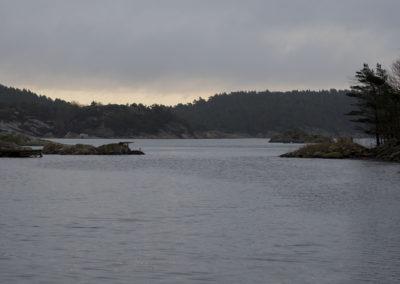 Novembertungt i Skogsøysundet i retning mot Tånes.