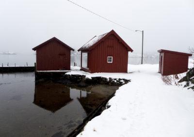 Snø, tåke, og januar på Landøy.