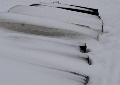 Båtopplag i januar, på sørsida av Landøy.