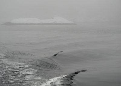 Januar er alt. Snø, tåke, kulde... På vei fra Landøy til Skogsøy.